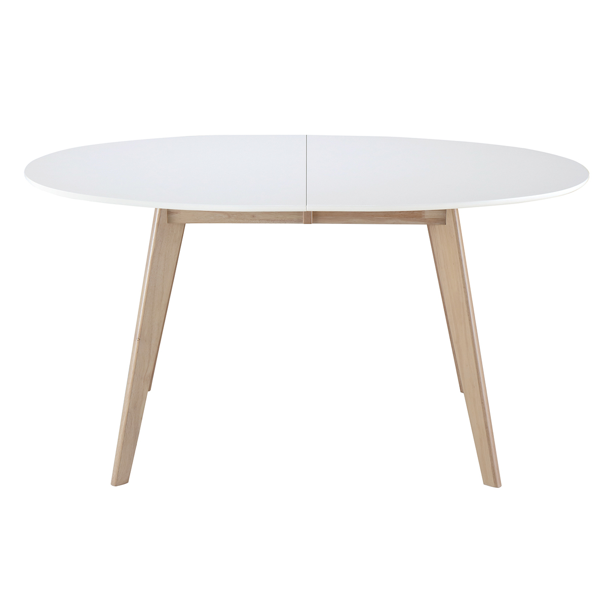Tavolo allungabile ovale bianco e legno chiaro l150 200 for Tavolo ovale bianco mondo convenienza