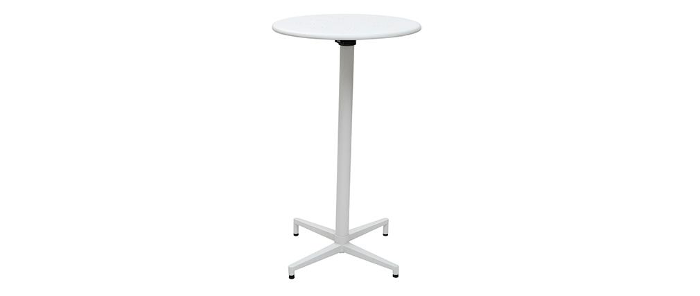 Tavolo alto pieghevole rotondo in metallo bianco DOTS