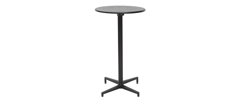 Tavolo alto pieghevole rotondo in metallo nero DOTS