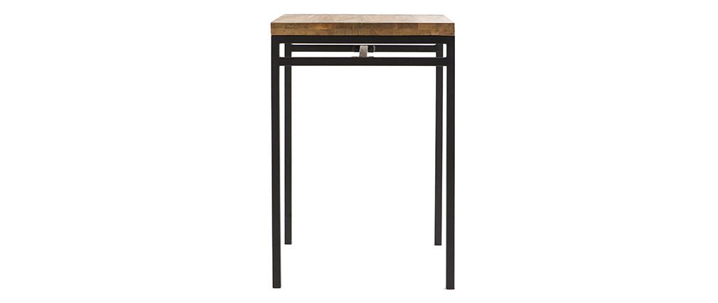 Tavolo alto quadrato in legno di mango e metallo Nero YPSTER