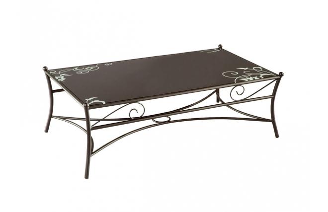 Tavolo basso FLORENCE stile ferro battuto e vetro temperato nero serigrafato - Miliboo