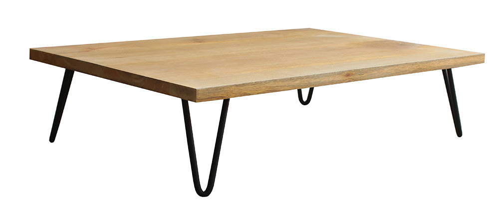 Tavolo basso in legno di mango con piede a forma di spillo in metallo modello VIBES