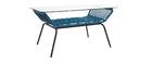 Tavolo basso in vetro e fili di resina Blu anatra TANGO