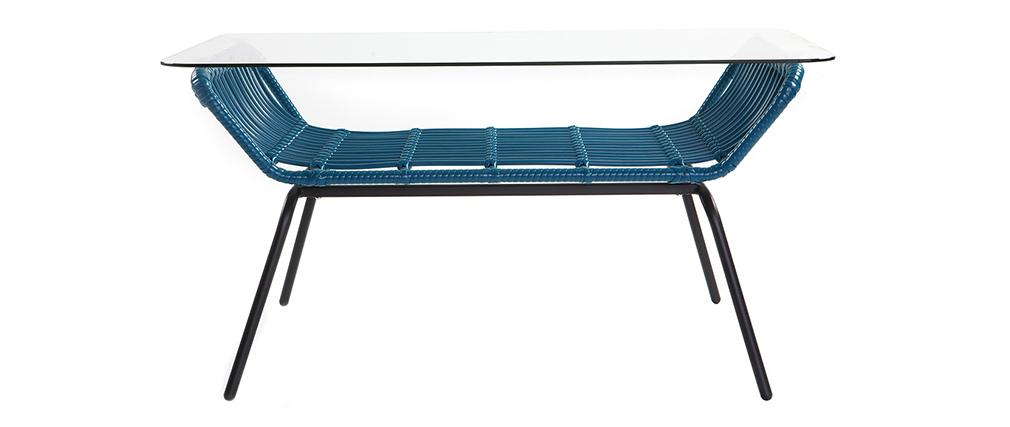Tavolo basso in vetro e fili di resina, colore: Blu anatra, modello: TANGO