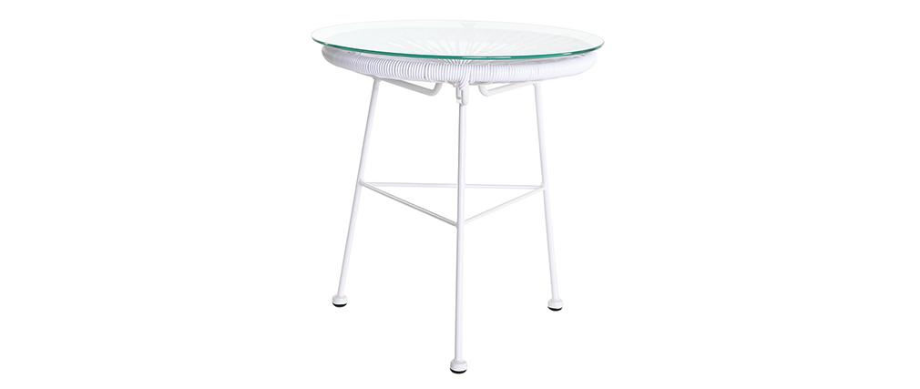 Tavolo complementare da giardino in fili di resina Bianco BELLAVISTA