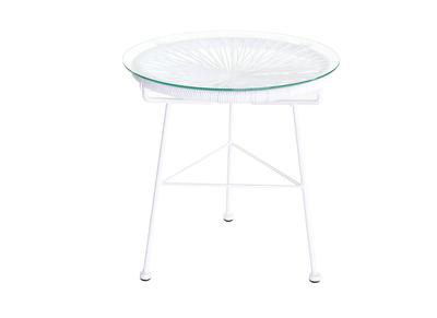 Tavolo complementare da giardino, in fili di resina, colore: Bianco, modello: BELLAVISTA
