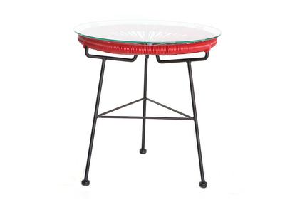 Tavolo complementare da giardino, in fili di resina, colore: Rosso, modello: BELLAVISTA