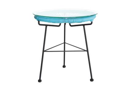 Tavolo complementare da giardino, in fili di resina, colore: Turchese, modello: BELLAVISTA