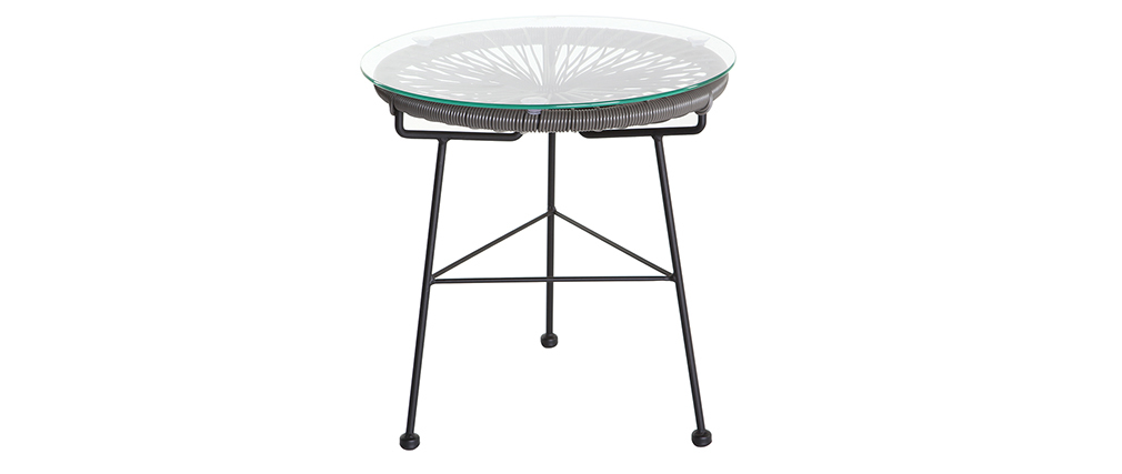 Tavolo complementare da giardino in fili di resina Grigio BELLAVISTA