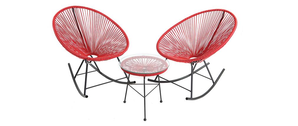 Tavolo complementare da giardino in fili di resina Rosso BELLAVISTA