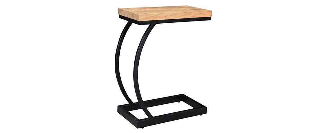 Tavolo complementare in acacia in metallo nero BREAK