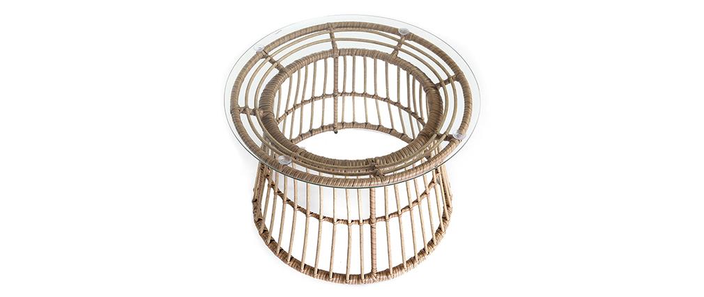 Tavolo complementare in fili di resina stile giunco BELLAVISTA