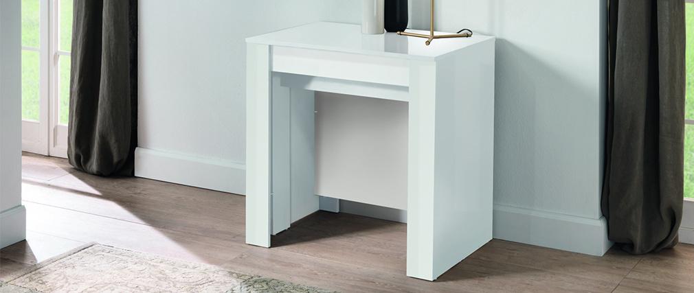 Tavolo consolle allungabile design bianco lucido L54-252 cm COMO