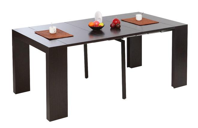 Tavolo consolle estensibile colore cioccolato caleb miliboo for Consolle estensibili