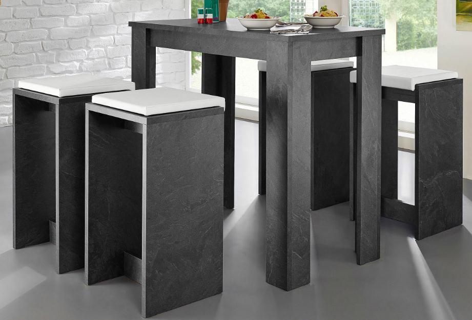 Tavolo da bar design finiture color marmo grigio SNACK - Miliboo
