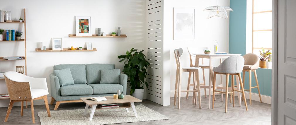 Tavolo da bar quadrato bianco e legno chiaro LEENA