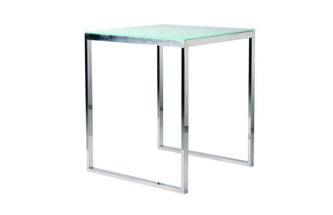 Tavolo da bar quadrato INOLA 90 cm inox e vetro temperato - Miliboo