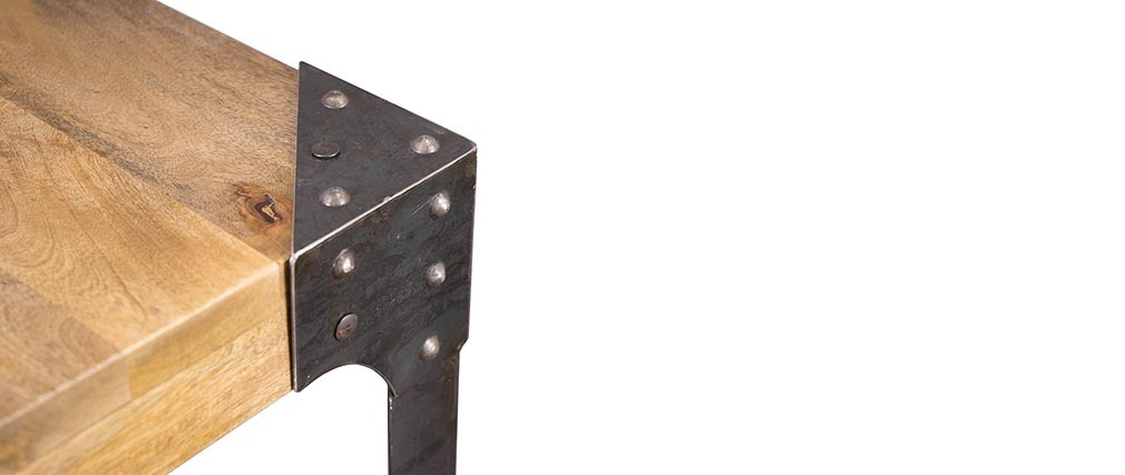 Tavolo da bar rettangolare design industriale legno e metallo MADISON