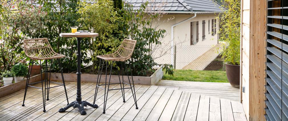 Tavolo da bistrot alto rotondo legno e metallo CONTY