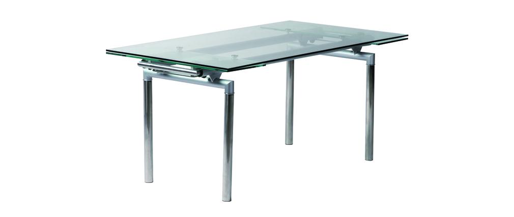 Tavolo da cucina sala da pranzo carter in metallo e vetro temperato miliboo - Vetro temperato cucina ...