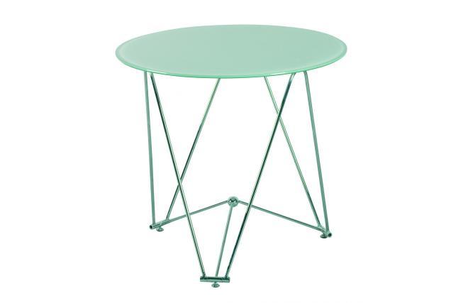 Tavolo da cucina / sala da pranzo rotondo JANIS 80cm acciaio e vetro temperato - Miliboo