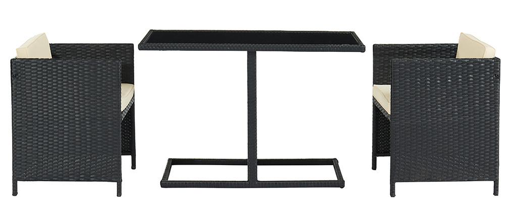 Tavolo da giardino in resina intrecciata con 2 sedie PICCOLO