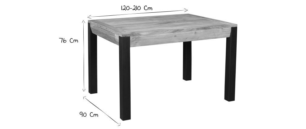 Tavolo da pranzo allungabile in massello di acacia e metallo nero L120-210 cm TRAP