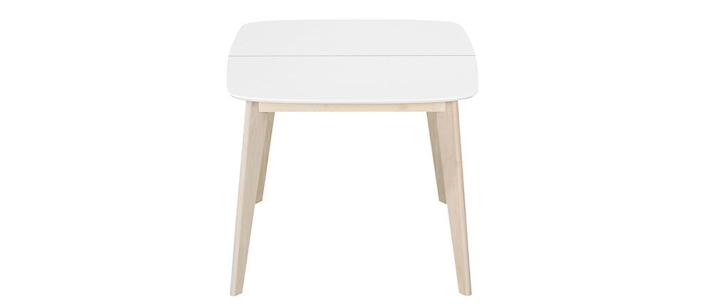 Tavolo da pranzo allungabile scandinavo quadrato bianco e legno L90-130 LEENA