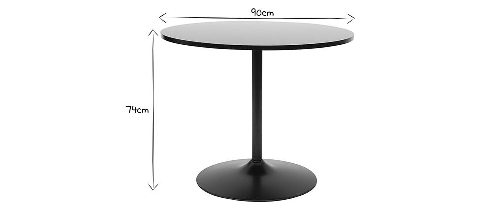 Tavolo da pranzo design 90cm nero CALISTA