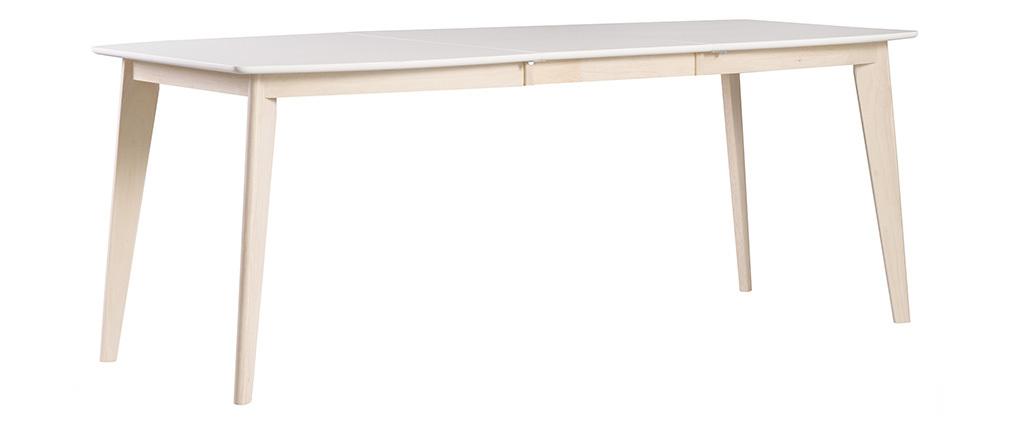 Tavolo da pranzo design allungabile bianco e legno chiaro L150-200 LEENA