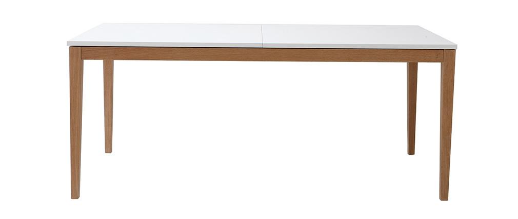 Tavolo da pranzo design allungabile bianco gambe in legno L180-260 DELAH