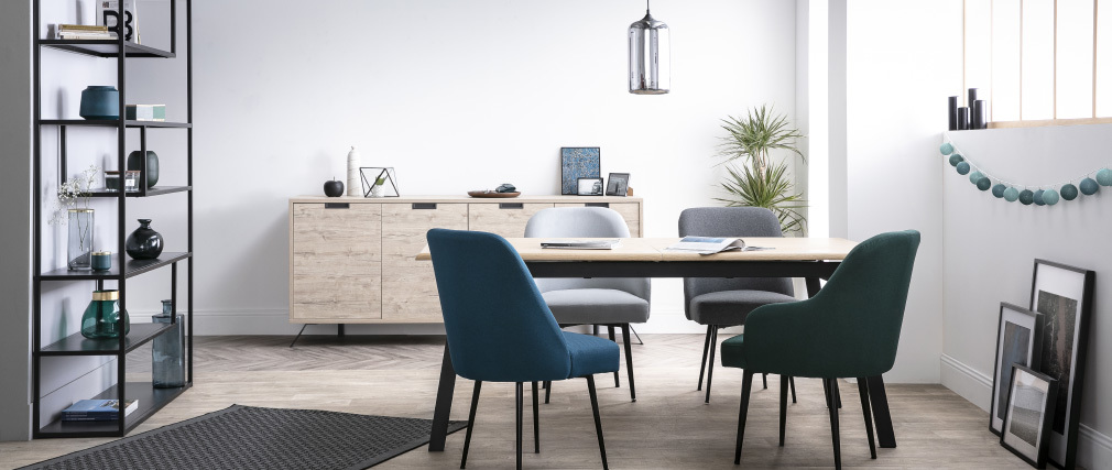 Tavolo da pranzo design allungabile legno e metallo L190-240 MARNY ...