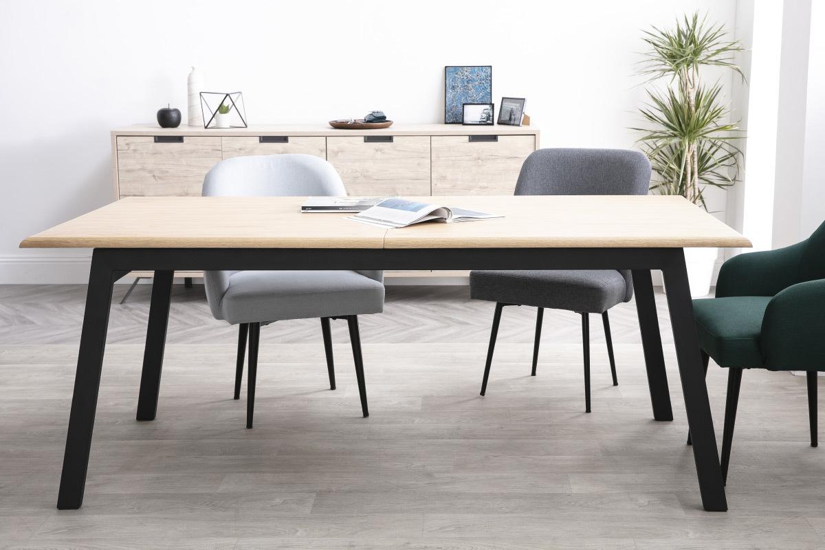 Tavolo da pranzo design allungabile legno e metallo L190-240 ...