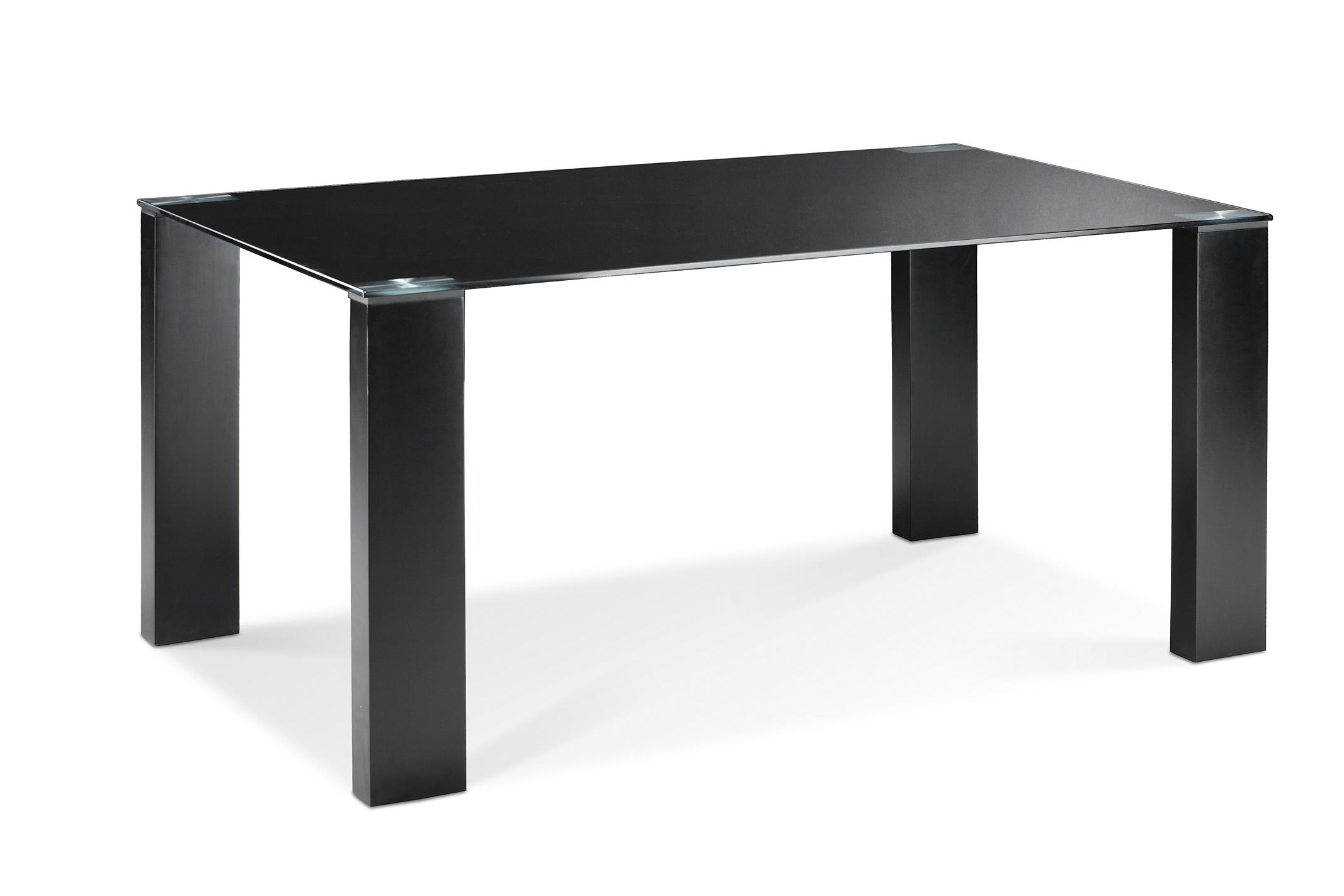 Tavolo da pranzo design legno e vetro temperato nero bonny miliboo - Tavolo vetro temperato opinioni ...