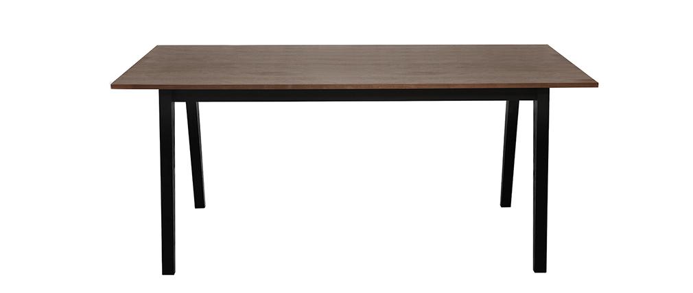 Tavolo da pranzo design noce e nero opaco NORMA - Miliboo