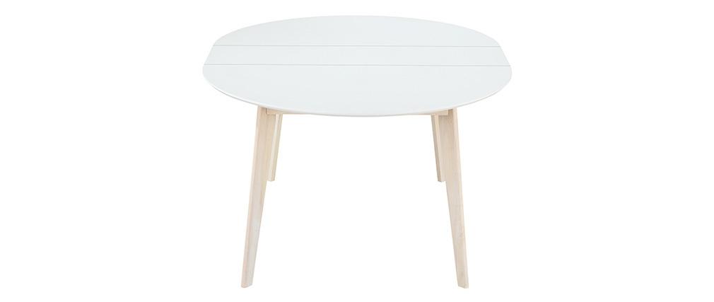 Tavolo da pranzo design rotondo allungabile bianco e legno L120-150 LEENA