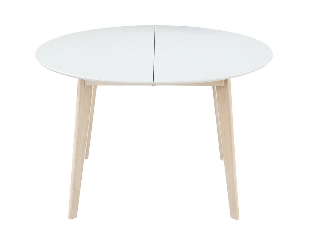 Tavolo Rotondo Bianco E Legno.Tavolo Da Pranzo Design Rotondo Allungabile Bianco E Legno