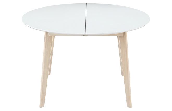 Tavolo da pranzo design rotondo allungabile bianco e legno leena