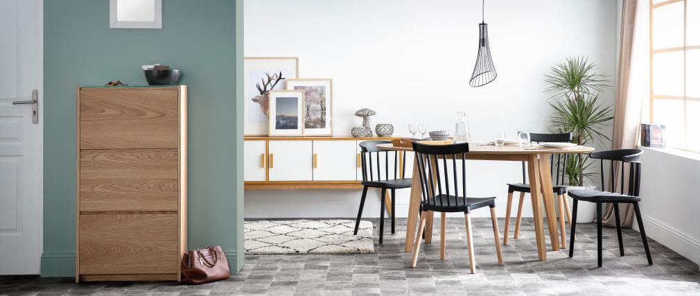 Tavolo da pranzo design scandinavo ovale noce L160 MARIK