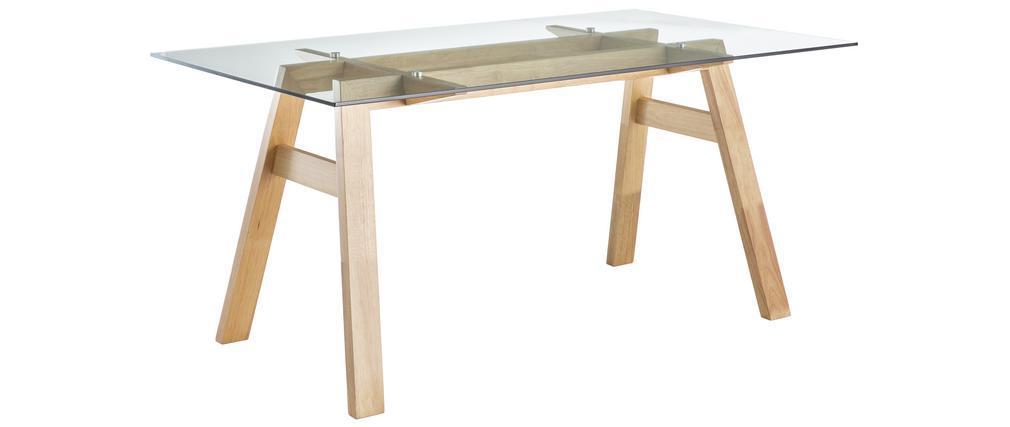 Tavolo da pranzo di design in vetro trasparente e legno L160 cm BACCO
