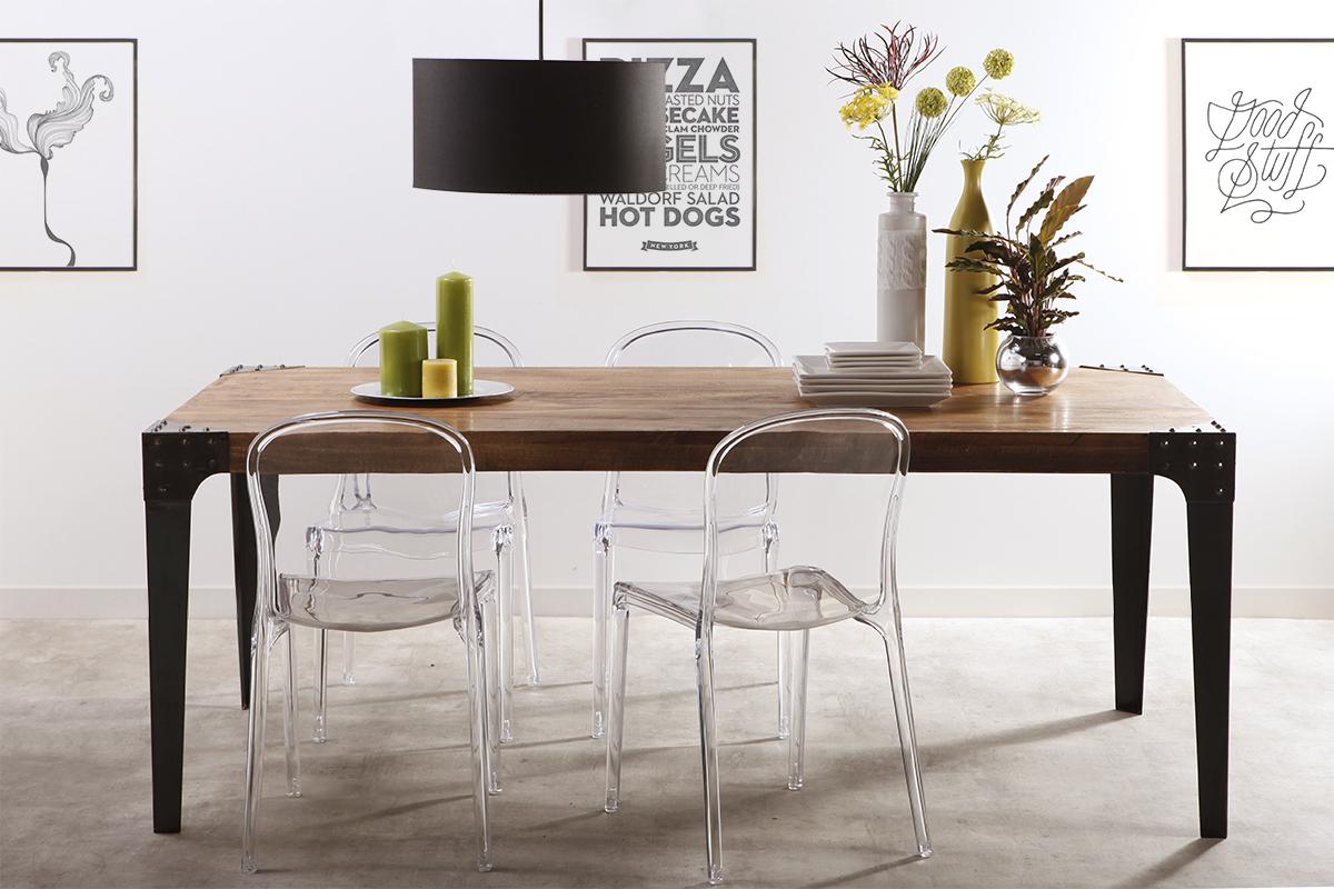 Tavolo Da Pranzo Stile Industriale.Tavolo Da Pranzo Di Stile Industriale In Acciaio E Legno L200