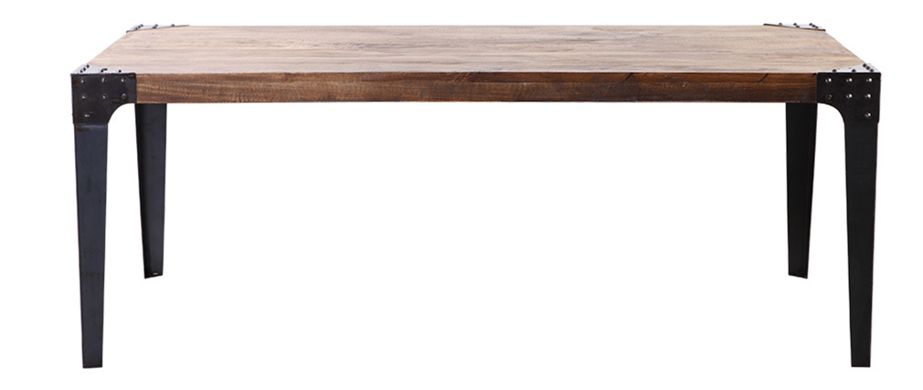 Tavolo da pranzo di stile industriale in acciaio e legno L200 MADISON