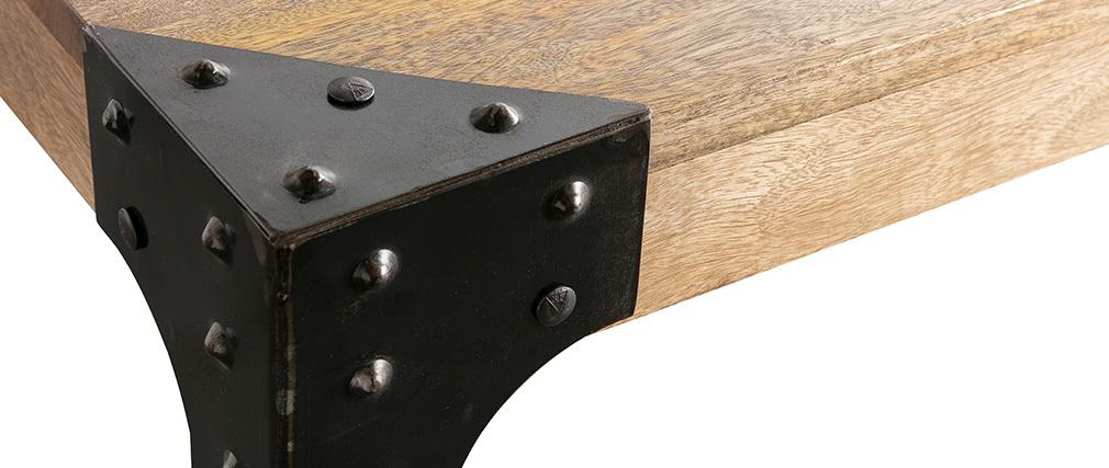 Tavolo da pranzo industriale acciaio e legno L80 MADISON