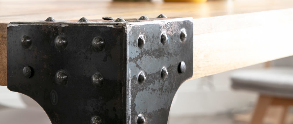 Tavolo da pranzo industriale in acciaio e legno L160 MADISON