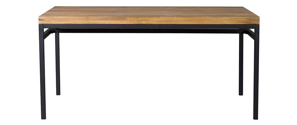 Tavolo da pranzo industriale legno di mango bruto e metallo L160 YPSTER
