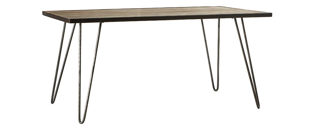 Tavolo da pranzo industriale rattangolare legno metallo L160 ATELIER