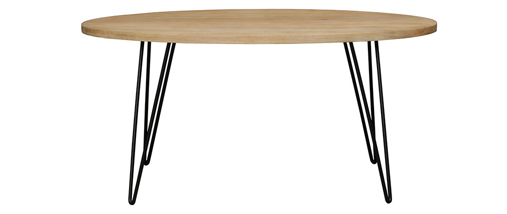Tavolo da pranzo ovale in legno massello di mango L160 x l90 cm VIBES