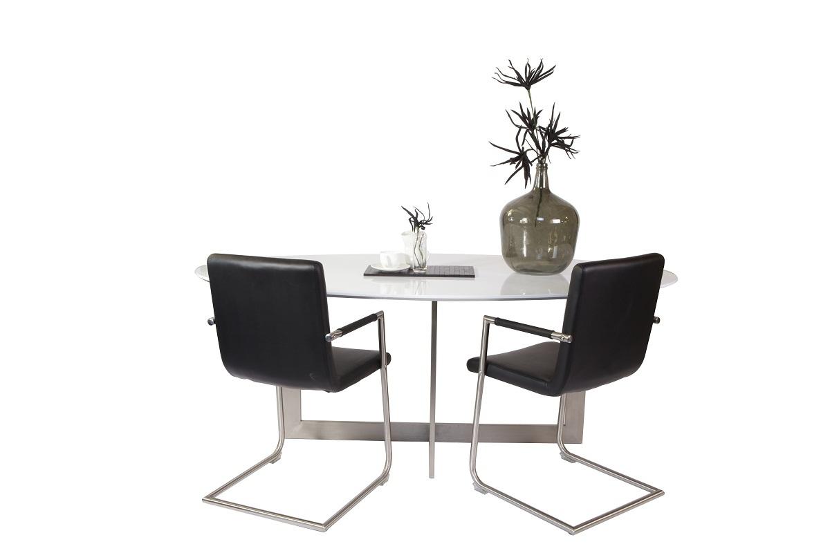 Tavolo da pranzo ovale in quercia di colore bianco e - Tavolo da pranzo ovale ...