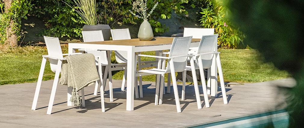 Tavolo da pranzo per esterni bianco e legno BLANCA - Miliboo