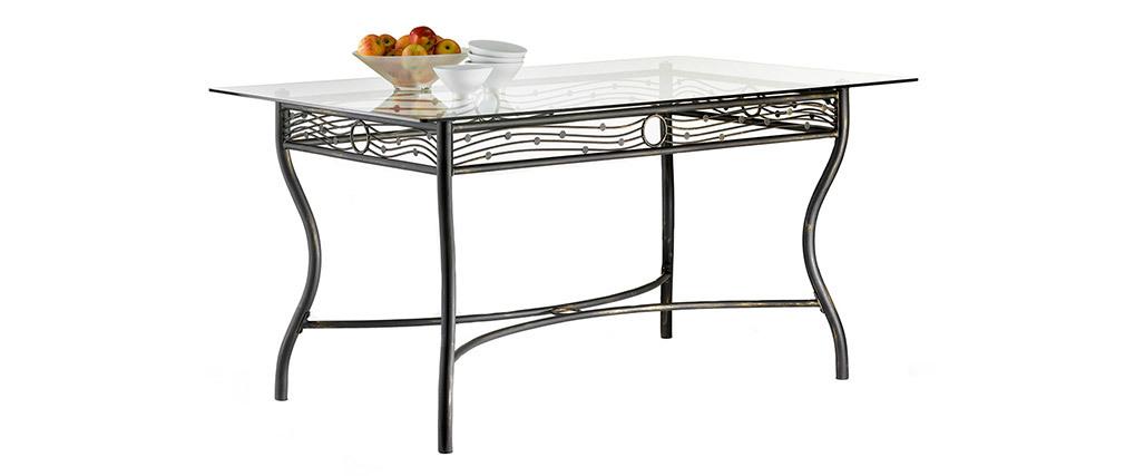 Tavolo da pranzo rettangolare stile ferro battuto e vetro temperato D153 FLORENCE